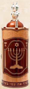 click for close up images, wood Torah case, sefer Torah cases, Torah tik
